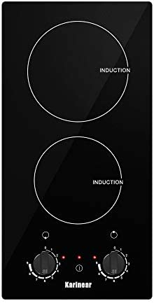 Stainless Steel Cookware,Karinear Double Induction Cooktop,Portable Countertop Burners,1800W,Electronic Knob Control,Suitable for Cast Iron