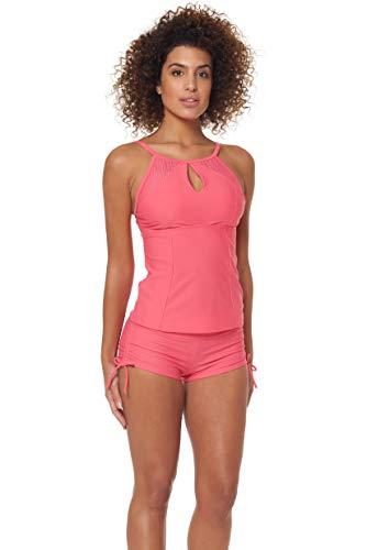 Skechers Womens Core Solids Swim Separates (Tops & Bottoms), Calypso Coral High Neck Tankini Top, L