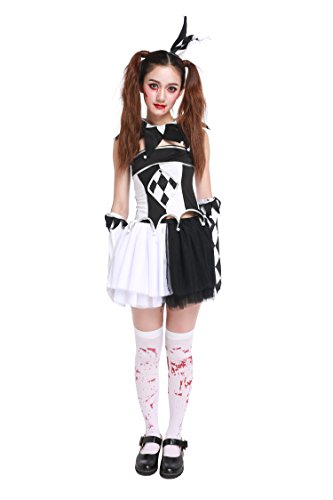 [Honeystore Women's Adult Scary Killer Clown Halloween Costume] (Zombie Costume Ideas For Adults)