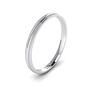 LANDA JEWEL Solid 14k White Rose Yellow Gold 2mm Light Court Shape Comfort Fit Polished Wedding Ring Milgrain Band