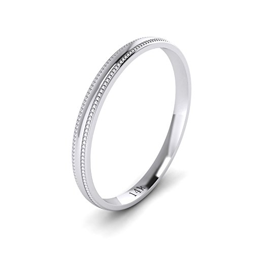 Unisex 14k White Gold 2mm Light Court Shape Comfort Fit Polished Wedding Ring Milgrain Band (10) by LANDA JEWEL