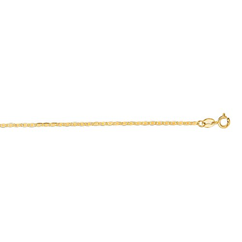14kt Yellow Gold Diamond Cut Mariner Link Chain with Spring Ring Clasp (18, 1.2mm)