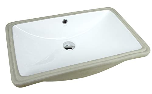 (KINGSMAN 24 Inch Rectrangle Undermount Vitreous Ceramic Lavatory Vanity Bathroom Vessel Sink Pure White (24 Inch) )