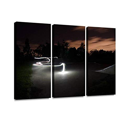 (7houarts Skate Park at Night Canvas Wall Artwork Poster Modern Home Wall Unique Pattern Wall Decoration Stretched and Framed - 3 Piece )