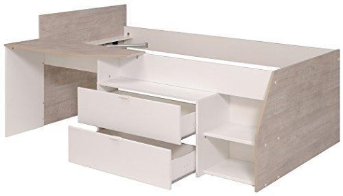 Hochbett Mika A 90x200cm Weiss Grau Kinderbett Kommode Schreibtisch
