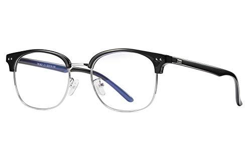 Transparent Frame Silver (FEISEDY Blue Light Blocking Computer Eyeglasses Anti Blue Light Retro Semi Rimless Eyewear B2456)