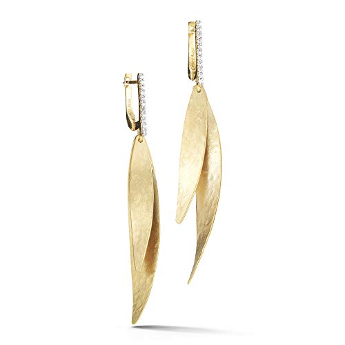 I REISS 14K Yellow Gold 0.13ct TDW Diamond Accented Leaf Dangling -