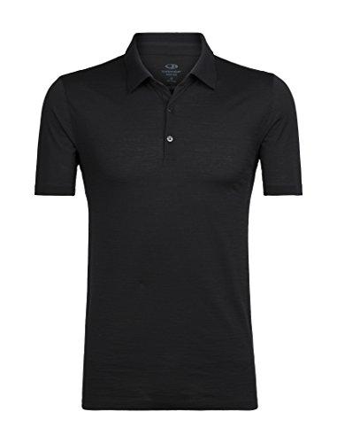 (Icebreaker Merino Men's Tech Lite Short Sleeve Polo Shirt, Black, Large)
