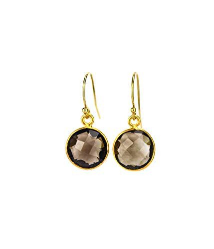 Smoky Quartz earrings, Birthstone Earrings, dangle earrings, bridesmaid earrings gemstone [10mm Round] ()