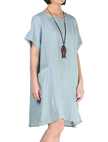 LaovanIn Women's Linen Tunic Dress Loose Casual Pocketed T Shirt Midi Dresses Medium -