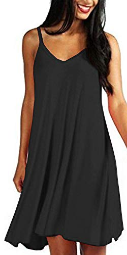 Mutoto Womens Adjustable Spaghetti Straps V Neck Plain Casual Summer Beach Sundress Swing Dress (L, Black Sundress)