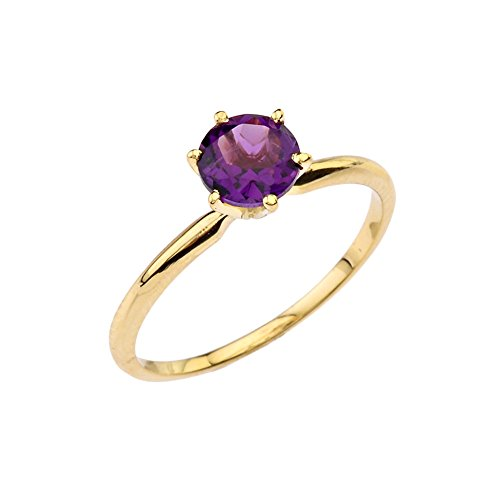 Dainty 14k Yellow Gold Personalized Genuine Amethyst Solitaire Engagement/Proposal Ring (Size 7)