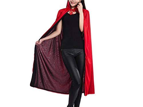 Hezon Happy Festival Double Layer Vampire Cloak Grim Reaper Long Cape for Halloween Christmas Party (Red and Black) (Color : Black, Size : Length 70cm)