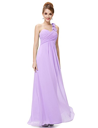 Ever-Pretty Juniors One Shoulder Empire Waist Long Prom Dress 10 US Light Purple