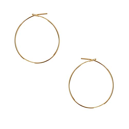 Humble Chic Round Hoop Earrings - Hypoallergenic Lightweight Wire Threader Loop Drop Dangles for Women, Safe for Sensitive Ears, 18K Yellow - 1 inch, Gold-Electroplated, Small