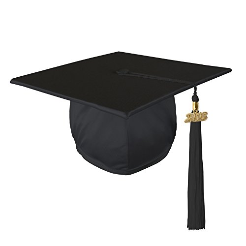 Class Act Graduation Graduation Shiny Mortar Board Cap and Matching 2018 Tassel - Black ()