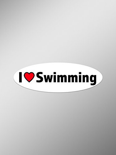 (PD049 2-Pack I Love Swimming Decal Sticker | 5.5-Inches By 1.75-Inches Premium Quality Vinyl Decal Sticker)