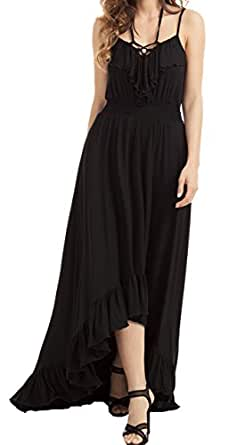 YeeATZ Women Black Lace Up V Neck Ruffle Trim Hi-low Maxi Dress