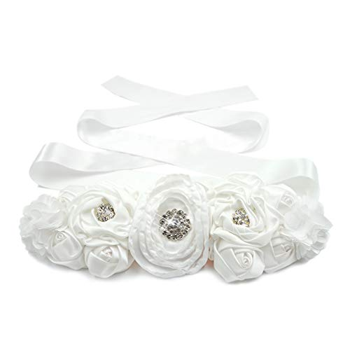 Lujuny Floral Bridal Maternity Sash Belt – Flower Ribbon Tie for Women Girls Wedding Pregnant Baby Shower Party Photoshoot -