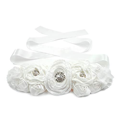 Lujuny Floral Bridal Maternity Sash Belt - Flower Ribbon Tie for Women Girls Wedding Pregnant Baby Shower Party Photoshoot (White)