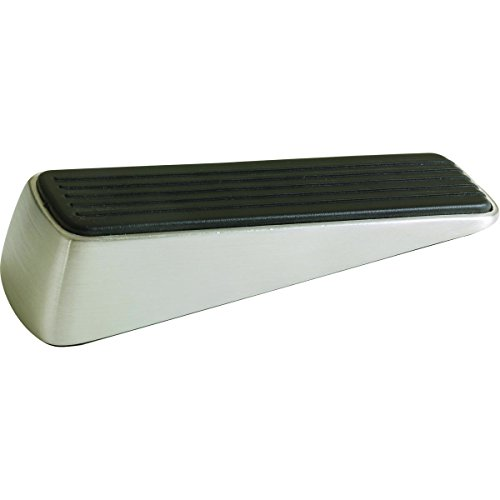 Shepherd Hardware 3314 Designer Satin Nickel Door Wedge with Non-Skid Rubber Base - Hardware Rubber