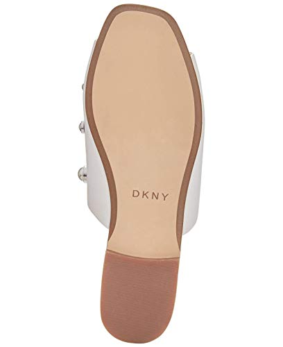 Leather Mules Womens Toe Roy Leather Open DKNY Pearl White wnAHqTYw