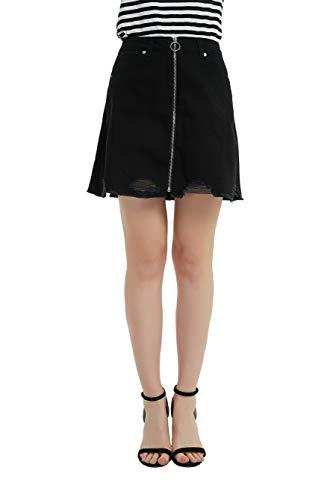 (Tronjori Women's A Line Distressed Ripped Denim Skirt Frayed Hem Front Zip(M,Black))