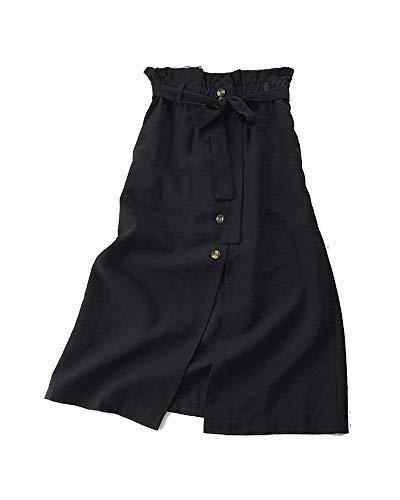 Fente Kasen Ceintur Jupes Longue Pliss Rtro Taille Noir Haute Jupe Avant Femmes Maxi aFafqxwgz