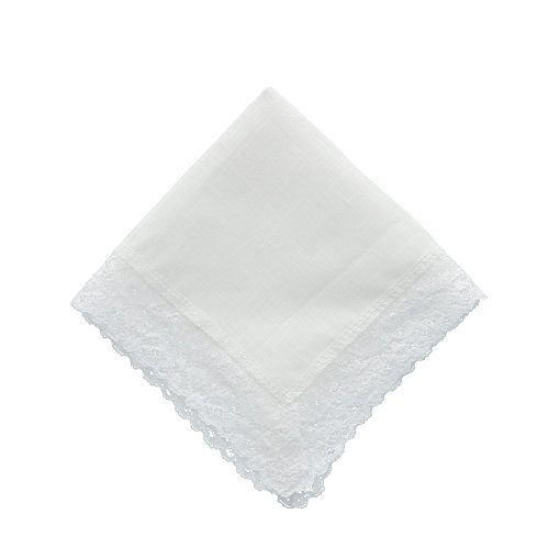 (CTM Women's Irish Linen Cathedral Lace Handkerchief, White)