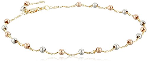 14k Yellow Gold Tri-Color Beads Anklet, 10″