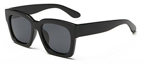 GAMT Retro Square Sunglasses Vintage Mirrored Polarized Fashion Design Eyewear Black frame - Asian For Reading Faces Glasses