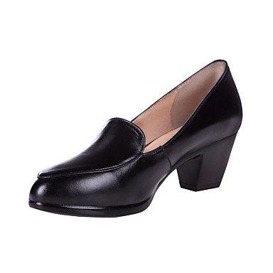 RTRY La Mujer Tacones Zapatos De Cuero Formal Primavera Otoño Office &Amp; Carrera Chunky Talón Negro 1A-1 3/4En Negro Us9 / Ue40 / Uk7 / Cn41 US8 / EU39 / UK6 / CN39