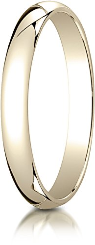 Benchmark 14K Yellow Gold 3mm Slightly Domed Traditional Oval Wedding Band Ring, Size 6.5 ()