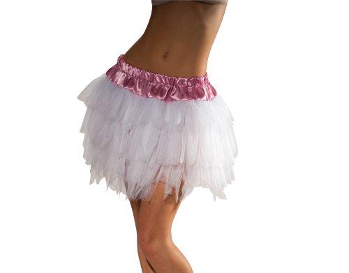 Secret Wishes Tutu With Satin And Elastic Waistband, White, One (White Fur Skirt)