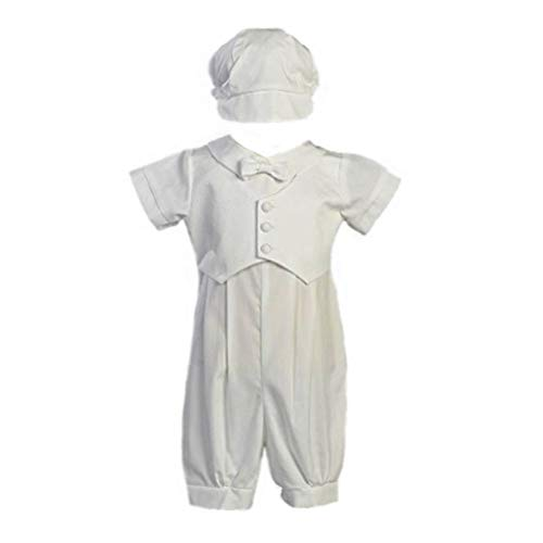 Swea Pea & Lilli Boy's Poly Cotton Christening Baptism Romper with Pique Vest Lito-Tyler, White, 3-6 months from Swea Pea & Lilli