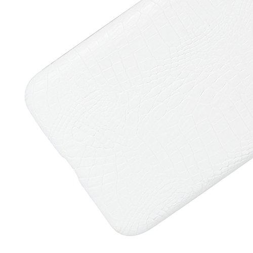 YHUISEN Patrón de piel de cocodrilo clásico de lujo [ultra delgado] cuero de la PU anti-rascar la cubierta protectora de la caja dura de la PC para Asus Zenfone 3 Max ZC553KL (5.5 pulgadas) ( Color :  White