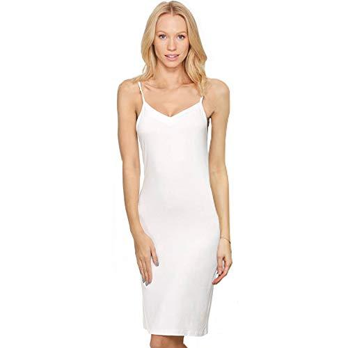 Imposes Women's Long Spaghetti Strap Full Cami Slip Camisole Under Dress Liner Sleepwear M White