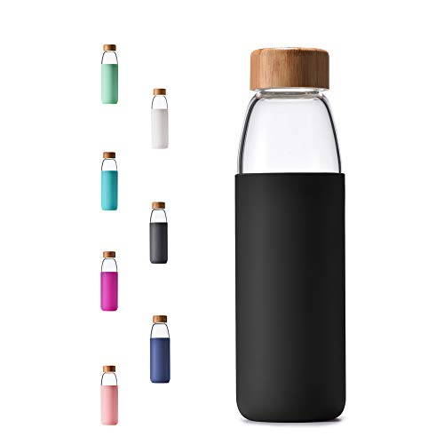 (Veegoal Diswasher Safe 18 Oz Borosilicate Glass Water Bottle with Bamboo Lid and Protective Sleeve-Bpa Free (Black))