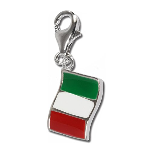 - SilberDream Charm flag Italy, 925 Sterling Silver Charms Pendant with Lobster Clasp for Charms Bracelet, Necklace or Earring FC705