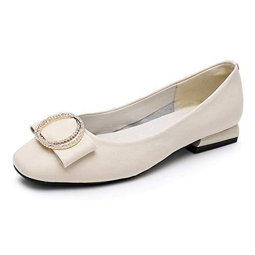 FLYRCX Los Zapatos de Cuero de la Primavera y del otoño Zapatos Planos cómodos de la Parte Inferior de la Boca Baja de la Manera Casual de la señora Calzan los Zapatos del Trabajo C