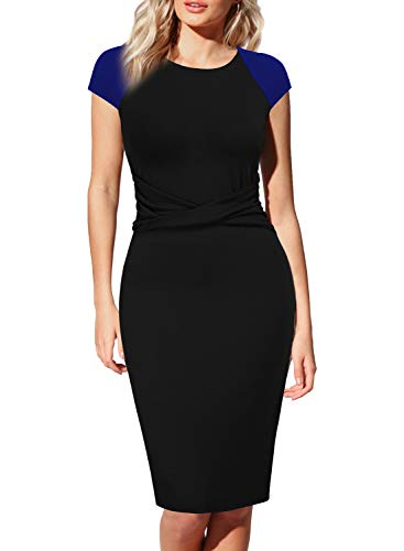 Colorblock Bow - WOOSEA Womens Cap Sleeve Colorblock Pleated Bow Wear to Work Church Sheath Dress