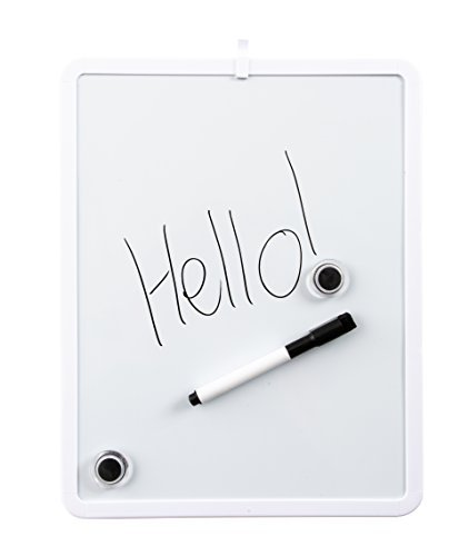 11'' x 14'' Dry Erase Whiteboard Bundle - Perfect for Hanging on The Refrigerator Or Office Wall to Keep to Do Lists and Grocery Lists - Includes 6 Colored Magnetic Markers - 2 Magnets - 11x14 White Board