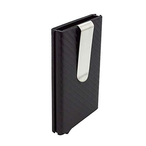 (RFID Blocking Minimalist Aluminum Metal Slim Card Wallet Stainless Money Clip Imitation Carbon Fiber Pu Leather Credit Card Case Modern Wallet Front Pocket Compact Pop-Up Push-Up Wallet Holder,black)