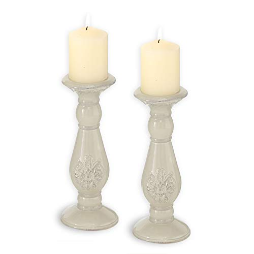 WHW Whole House Worlds 2 Piece Crested Ceramic Candle Holders, Round Turned Columns, Rustic Glaze, Shabby Pastel Beige Glaze, 9 .5 Inches Tall for Votive and Pillars
