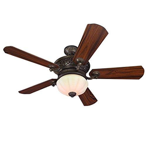 (Harbor Breeze Platinum Wakefield 52-in Guilded Espresso Indoor Downrod Mount Ceiling Fan with Light Kit and Remote)