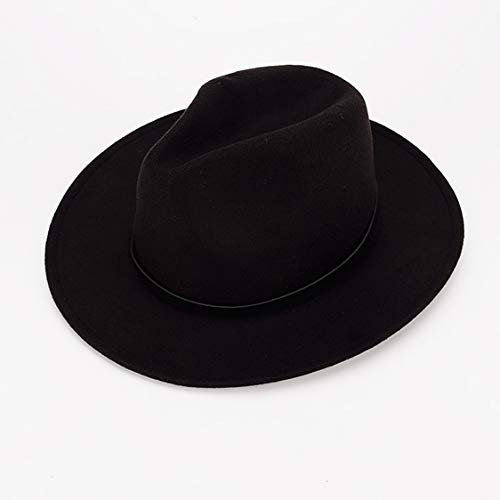 c08b2604612523 Women or Men Woolen Felt Fedora Vintage Short Brim Crushable Jazz Hat, Leaf  Belt 56