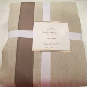 (Pottery Barn LINEN With SILK TRIM Duvet Cover King/California King~*Brownstone*~)