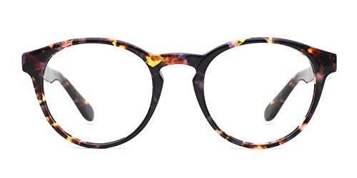 TIJN Vintage Eye-catching Keyhole Horn Rimmed Round Acetate - Double Eyeglasses Bridge