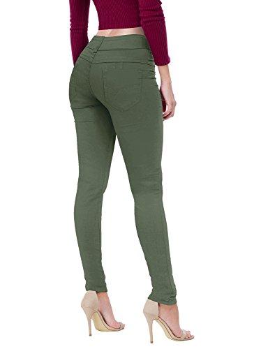 HyBrid & Company Women's Butt Lift V2 Super Comfy Stretch Denim Jeans P43637SK Olive 13 by HyBrid & Company