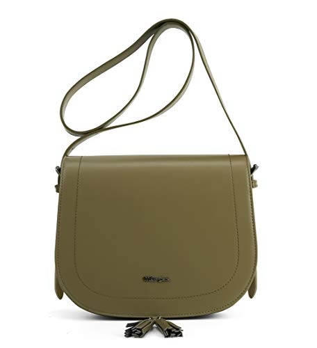 Miss CeCe Women's Saddle Bag Purses Crossbody Shoulder Bag with Flap Top & Tassel (Green) -